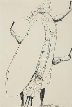 Tadeusz Brzozowski   <i>RARYTAS, 1980</i>   tusz pióro, papier czerpany kremowy   43 x 29.3 cm