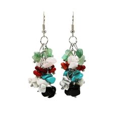 1pair fashion women's colorful dangle earrings stone ethnic style handmade jewelry big 6cm long earring pendients brincos girls