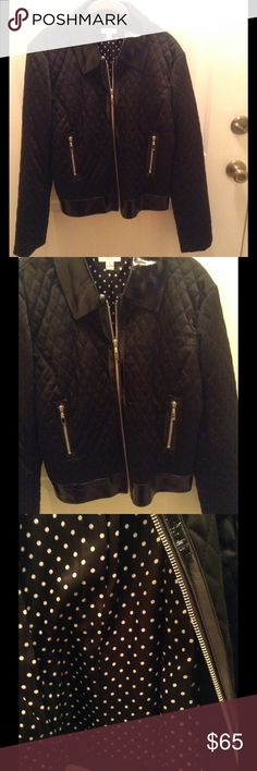 Cache Quilted/100% Leather Trimmed Jacket This gorgeous black jacket has a zip up front closure and 2 front pockets.  It has leather trim on the collar, along the hemline, and trimming all of the zippers.  It is fully lined in a black polyester with white polka dots.  78% Acetate/19% Nylon/3% Spandex. 24 inches long.  Excellent condition!! Cache Jackets & Coats