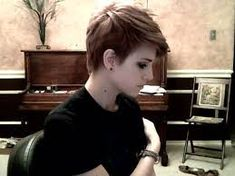 Image result for SHORT BROWN EMO PIXIE CUT