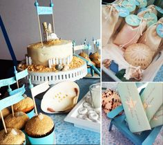 I love beach parties! Check out this fun cake and cupcakes. Used here for a wedding, but can be adapted for any celebration....or just celebrating you are at the beach!