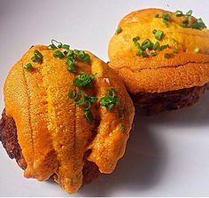 Uni risotto balls stuffed with prime ribeye cap, topped with uni. #SEAURCHIN