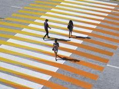 "Cruz Diez, Crosswalks of Additive Color, 2010 Crosswalks of Additive Color Miami Beach Convention Center, Miami Beach, United States [See location on map] Intervention on crosswalks for the opening of the ""Art Basel - Miami Beach"" art fair. Land Art, Op Art, Passage Piéton, Art Public, Public Spaces, Pedestrian Crossing, Urban Intervention, Urbane Kunst, Environmental Art"