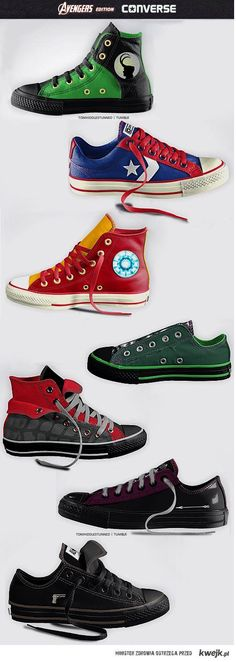 converse - avengers edition. II want them all. | Raddest Men's Fashion Looks On The Internet: http://www.raddestlooks.org - visit to grab an unforgettable cool 3D Super Hero T-Shirt!