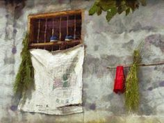 TWO SHOES IN A FARM HOUSE WINDOW – Windows are fascinating, each having its own personality and story. None more than this one in a Chinese farm house with its eclectic array of objects...including two small shoes. Painting by artist Richard Neuman represented by Two Bananas Art. Giclee $21.00 #photopainting #window #farmhouse #shoes #travelpainting #impressionism