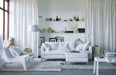 living room, Elegant White Color From 2013 IKEA Living Room Design Ideas For Small Space Interior: Beautiful small living room design and decoration pictures Small Living Room Furniture, Ikea Living Room, Small Living Rooms, Home And Living, Living Room Designs, Ikea Furniture, Cozy Living, Modern Living, White Furniture