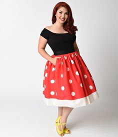 There's always time for polka dots, dears! Fresh from Unique Vintage, this magnificent 1950s inspired circle skirt is printed with darling ivory dots in an eye catching red design. With a black banded high waist, Ivory hemline, and gathered, voluminous A-