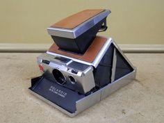 Vintage POLAROID SX-70 Land Camera Chrome Tan Brown Leather - TESTED FOR POWER #Polaroid