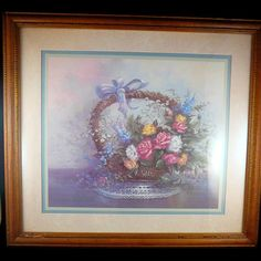 vintage home interior framed matted flowers in a by julianoscorner sold