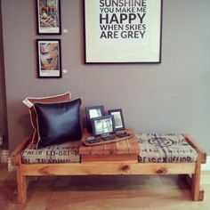 Beautiful upcycled piece from Up'dated in Ottawa. Love the Bridgehead Coffee bean sack seats!