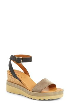 Free shipping and returns on See by Chloé 'Robin' Wedge Sandal (Women) at Nordstrom.com. A touch of preppy, a touch of skater-girl: A cool mixed-media sandal flaunts a lug sole, an inset cork wedge and a sleek leather ankle strap. A gilded square buckle adds a touch of polish.