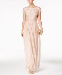Adrianna Papell Sequined Tulle A-Line Gown - Bridesmaids - Women - Macy's