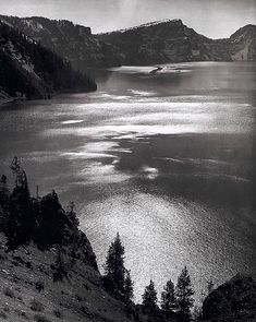 Ansel Adams Afternoon Sun, Crater Lake National Park, OR 1943 National Parks💠Ansel Adams. Ansel Adams Photography, Bw Photography, Quotes About Photography, Straight Photography, Minimalist Photography, People Photography, Digital Photography, Famous Photographers, Landscape Photographers