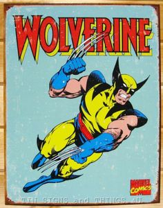 Wolverine Retro Tin Sign Vtg Metal Wall Decor Poster Marvel Superhero Bar 1480   eBay