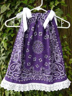 Bandana Pillowcase Dress or Swing Top Western toddler Girls Purple with eyelet lace ruffle
