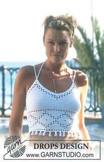 DROPS Crocheted top in Safran. ~ DROPS Design