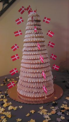 Danish New Year's Eve cake (kransekage) -- sometimes used as a wedding cake