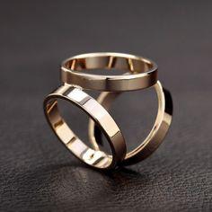 Titanium Steel Trio Scarf Ring Gold #