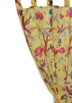 Flora and Fauna and Fabulous Curtain in Yellow by Karma Living - Yellow, Dorm Decor, Cotton, Holiday Sale