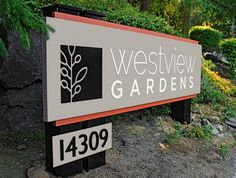 Woodinville - Westview Gardens aluminum, acrylic, and HDU foam monument sign Monument Signage, Outdoor Signage, Church Signs, Sign Design, Outdoor Business Signs, Graphic Design, Black Mountain, Wellness Center, Graphics
