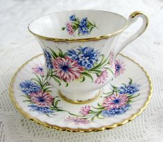Paragon Tea Cup and Saucer with Pink and Blue Flowers, Vintage Tea Cup, Bone China