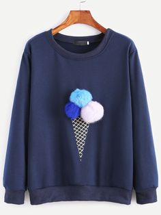 Sweatshirts by BORNTOWEAR. Ice Cream Print Pom Pom Sweatshirt