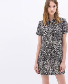Image 2 of PRINTED SHIRT DRESS from Zara