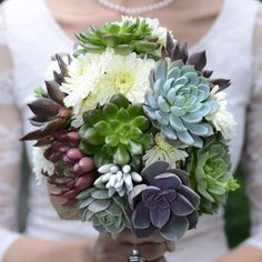 Succulent and Daisy Bouquet