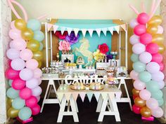 Wow! What a fun rainbows and unicorns birthday party! See more party ideas at CatchMyParty.com!