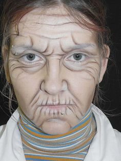 Make-up placement for a granny look for Halloween. This would of come in handy for my last years 'grandma zombie' look!