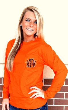 LONG SLEEVE MONOGRAMMED SPIDER WEB POCKET TEE
