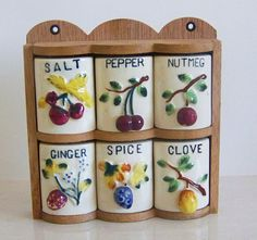 """check out the shape of the """"jars"""" - really drawers Vintage Spice Jars with Fruit Motif from Japan by XclusiveDesigns, $22.50"""