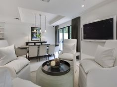 Naples Luxury Home Blog - contemporary sitting room - white chairs - love the furniture placement.