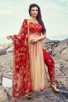#Red & #Beige radiant #net indo western #salwar with bateau neck-SL5988