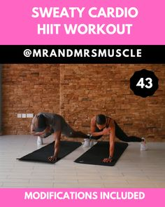 Cardio & Abs Workout - Add this intense full body HIIT exercise to your home workouts to burn fat. Fitness Workouts, Workout Cardio, Hiit Workout Videos, Full Body Hiit Workout, Cardio Abs, Fat Burning Workout, At Home Workouts, Sweat Fitness, Exercise Workouts