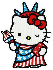 Hello Kitty Statue of Liberty embroidery design Sanrio Hello Kitty, Hello Kitty Art, Hello Kitty Items, Here Kitty Kitty, Happy 4 Of July, 4th Of July, Machine Embroidery Designs, Embroidery Patterns, Hand Embroidery
