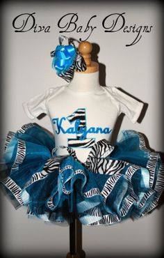 Turquoise Zebra Diva Ribbon Tutu Birthday by DivaBabyDesigns, $95.00