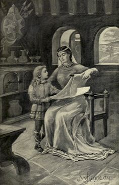 """Queen Osburgh/Osburga (d.before 856) was the mother of Alfred the Great. During the early middle ages the mother was responsible for her children's education; she herself could be better educated than her husband. A 9th century account praises Osburgh for giving her sons a book of Saxon poetry, saying, """"Whichever of you shall the soonest learn this volume shall have it for his own."""" When Alfred triumphed over his brother, she """"smiles with satisfaction"""". PICTURE: Osburga reads for Alfred…"""