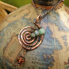 Hammered Copper Necklace Swirl With Aventurine and by NedjmaBazaar, $40.00