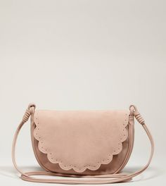 "AEO Scalloped Crossbody Bag in blush    Visual interest.  Polyurethane        • Soft faux leather      • Scalloped front flap      • Perforated details      • Long crossbody strap      • Concealed snap closure         • Interior patch pocket      • Lined      • 9.5""L x 7""H x 2""D - brand name bags, bags with price, shop womens bags *ad"