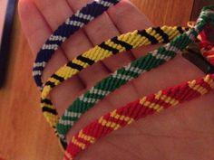 Griffindor, slytherin, ravenclaw, and hufflepuff bracelets