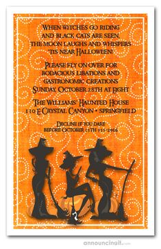 Three witches silhouettes with their magic brooms,  perfect for Halloween party invitations, Halloween costume party invitations or kid's Halloween birthday party. See our entire collection at Announcingit.com