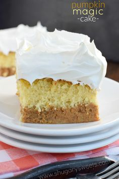 """Look at the beautiful layers in this Pumpkin Magic Cake. It all starts with a box mix and the cake """"magically"""" separates! Perfect for Thanksgiving!"""