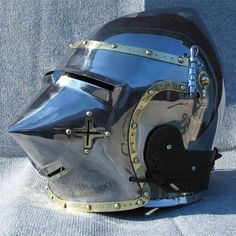 Bascinet hounskull with brass decoration and cross on the cheek