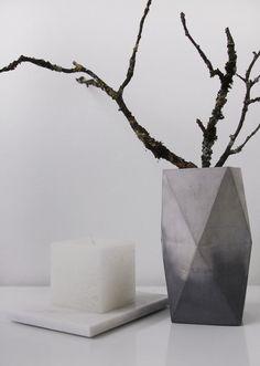 Marbled Concrete Geometric Minimalist Vase, geometrical marbled concrete vase