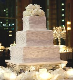 textured wedding cakes | Textured, square wedding cake