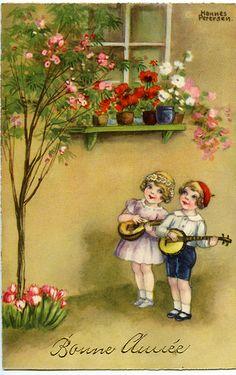 new year 1936 vintage postcard Art Vintage, Vintage Artwork, Vintage Ephemera, Vintage Cards, Vintage Postcards, Victorian Pictures, Vintage Pictures, Pretty Pictures, Vintage Happy New Year