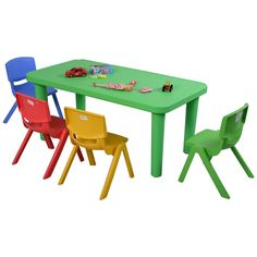 This plastic table and 4 chair set is a great choice for your kids to eat, learn and play.