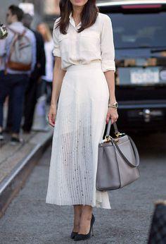 White shirts long maxi skirt gray handbag black heels. Street summer women fashion outfit clothing style apparel @roressclothes closet ideas