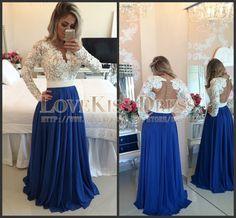 Royal Blue Long Formal Dress White Lace Full Sleeve Party Dress Sheer Back Vestido Para Festa 2017 Abiti Da Cerimonia Lunghi